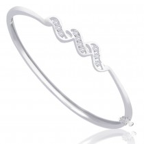White CZ Studded Openable 925 Sterling Silver Bangle For Women