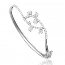 Sterling Silver Delicate Floral Cz Studded Openable Bangle