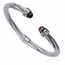 Purple Bullet Bead Twisted Flexi 925 Silver Bangle For Women
