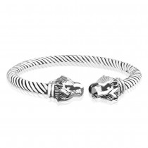 925 Sterling Silver Lion Head Twisted Bangle for Men