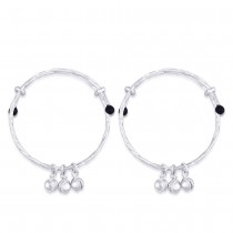 925 Sterling Silver Bell Ending With Black Beads Baby Bangles For Kids