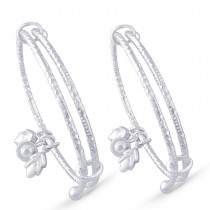 925 Sterling Silver Bell With Leaf Charm Bangle for Kids