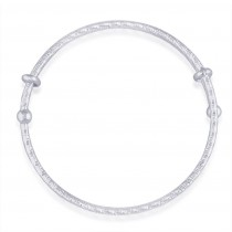 925 Sterling Silver Diamond Cut Bangle For Women