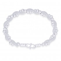 925 Sterling Silver Multi Twisted Beads & Chain Bangle For Women