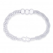 925 Sterling Silver Ball Beads & Chain Twisted Bangle For Women