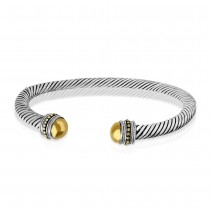 925 Sterling Silver Twisted Bangle for Unisex