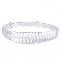 999 Silver Diamond Cut Expander Bangle For Women
