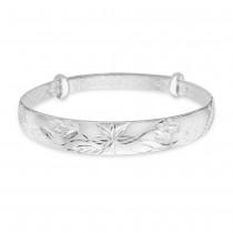 999 Silver Daimond Cut Floral Design Bangle For Women