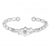 990 Sterling Silver Oval Beads Floral Design Bangle For Women