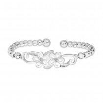 990 Sterling Silver Round Beads Floral Design Bangle For Women