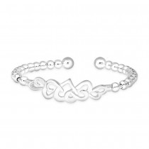 990 Sterling Silver Round Beads Heart Design Bangle