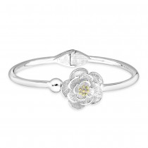 990 Sterling Silver Top Openable Floral Bangle