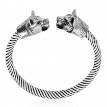 925 Sterling Silver Fox Head Twisted Bangle for Men