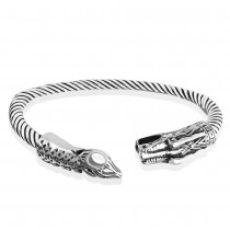 925 Sterling Silver Twisted Bangle for Men