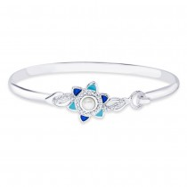 925 Sterling Silver Floral Enamel Bangle for women