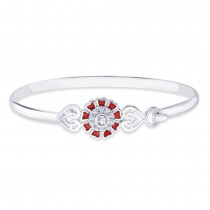 925 Sterling Silver CZ Floral Bangle for women