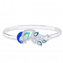925 Sterling Silver Peacock Style Bangle for women