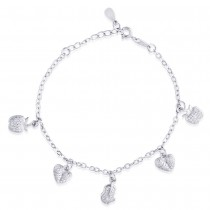 925 Sterling Silver Heart Shape with White CZ Bracelet for women