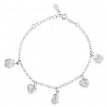 925 Sterling Silver Heart Shape with White CZ Bracelet for women