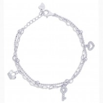 925 Sterling Silver Crown,Key & Heart Charm Bracelet For Women