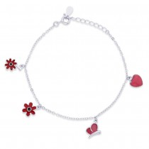 925 Sterling Silver Multi Enamel Charms Bracelet For Women