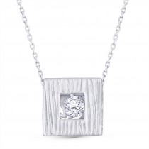 925 Sterling Silver Solitaire Dancing Stone Square Necklace For Women