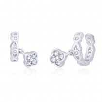 925 Sterling Silver White CZ Floral Charm Ear Cuff
