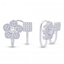 925 Sterling Silver Floral Clip-On Ear Cuff for Women