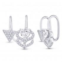 925 Sterling Silver Heart Clip-On Ear Cuff for Women