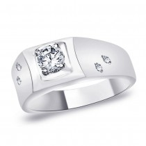 925 Silver Solitaire CZ Band Ring For Men's