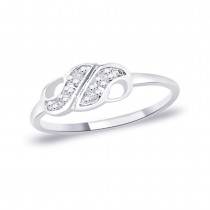 White CZ 925 Sterling Silver Finger Ring For Women