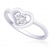 925 Sterling Silver CZ Heart Finger Ring for women