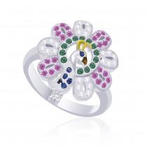 925 Sterling Silver Peacock Style Finger Ring For women