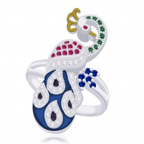 925 Sterling Silver Peacock Style Finger Ring For women
