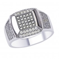 White CZ Elegant 925 Sterling Silver Finger Ring For Men