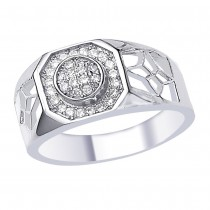 White CZ Delicated Design 925 Sterling Silver Finger Ring For Men