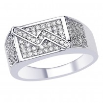 White CZ Ravishing Look 925 Sterling Silver Finger Ring For Men