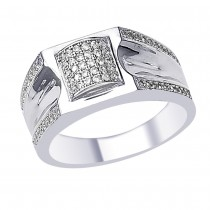 White CZ Elegant Design 925 Sterling Silver Finger Ring For Men