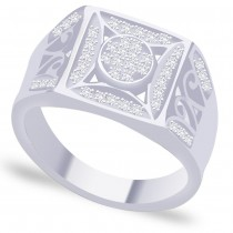 White CZ Excellent Design 925 Sterling Silver Finger Ring For Men