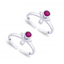 Purple CZ 925 Sterling Silver Toe Ring For Women