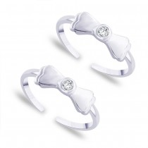 Bowtie White CZ 925 Sterling Silver Toe Ring For Women
