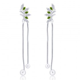 925 sterling silver Half Leaf design Drop Earrings for Women JOCCBER266I-05
