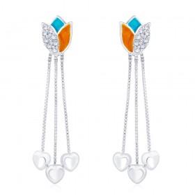 925 sterling silver Lotus design Drop Earrings for Women JOCCBER266I-08