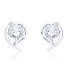 925 Sterling Silver CZ Abstract Design Stud Earrings for Women JOCCBER267I-05