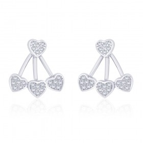 925 Sterling Silver Cz Heart Front To Back Earring For Women JOCER2640R
