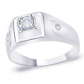925 Silver CZ Solitaire with Accents Promise Ring for men's JOCFR1124R9