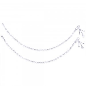 Single Line Plain Ball Ending with Charm 925 Silver Anklet For Women JOCAN0523S