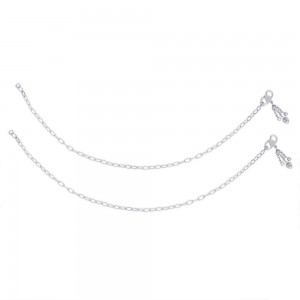 Single Line Plain Ending with Heart Charm 925 Silver Anklet For Women JOCAN0541S