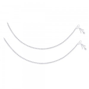 Single Line Plain Ending with Heart Charm 925 Silver Anklet For Women JOCAN0542S