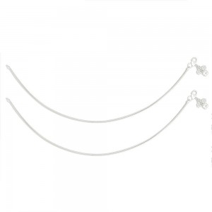 Single Line Plain Ending with Floral Charm 925 Silver Anklet For Women JOCAN0557S